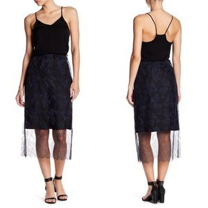 • Tibi • Chantilly Midi Skirt Lace Black & Blue